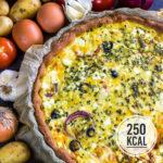 Vegetarische Quiche mit Kartoffeln, Oliven, Tomate und Käse (Kalorienarm und einfach)