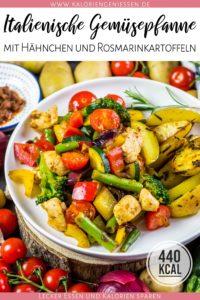 Schnelle und einfache italienische Gemüsepfanne mit Hähnchen und Rosmarinkartoffeln. Kalorienarm und perfekt für Mittagessen und Abendessen während einer Diät. Kalorienarmes Kochen. Schnelle Rezepte zum Abnehmen. - kaloriengeniessen.de #gemüsepfanne #vieleiweiss #gemüse #rosmarinkartoffeln #schnellundeinfach #kaloriengeniessen #rezeptezumabnehmen