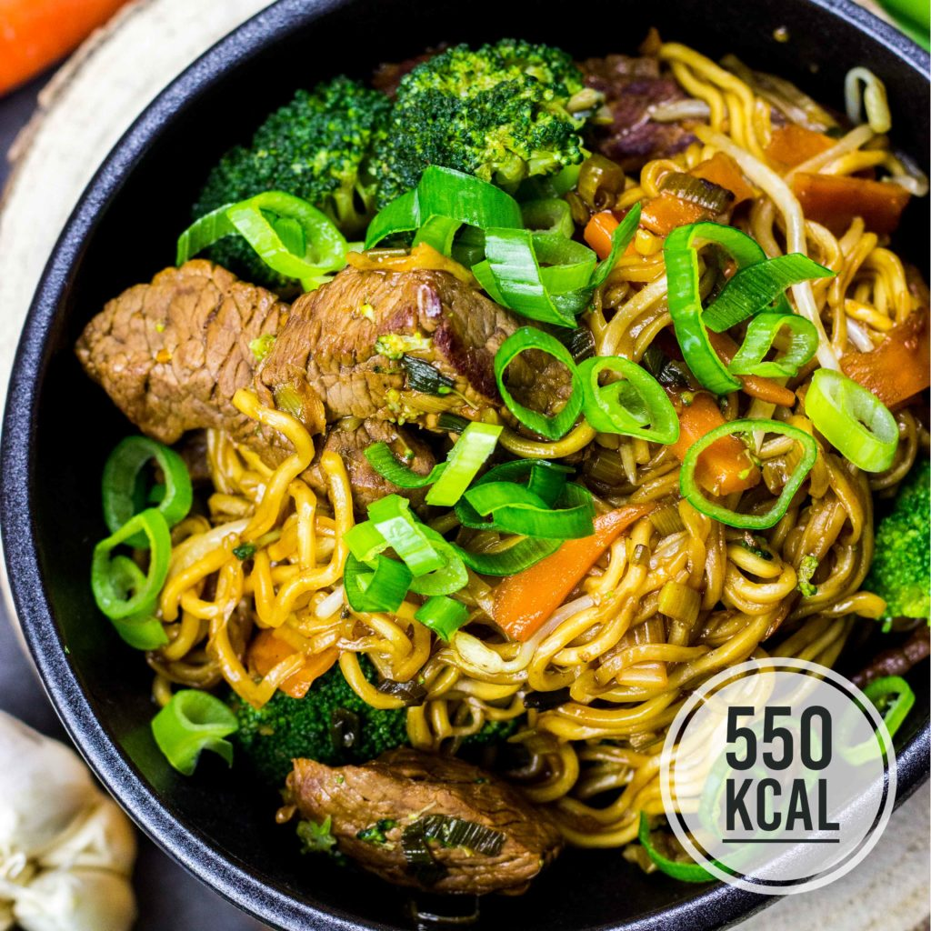 Gebratene Nudeln wie vom China-Imbiss, aber viel gesünder und kalorienärmer. Mit Brokkoli und Rindfleisch, lecker glasiert mit Sojasauce. Einfaches und schnelles Rezept. Gesundes und kalorienarmes Kochen. Schnelle Rezepte zum Abnehmen. - kaloriengeniessen.de #gebratenenudeln #asia #noodles #friednoodles #brokkoli #umami #schnellundeinfach #kaloriengeniessen #rezeptezumabnehmen