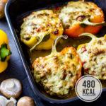 Gefüllte Paprika mit Hackfleisch, Champignons und Frischkäse (low carb und kalorienarm)