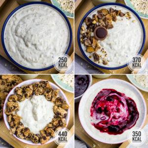 Cremige, kalorienarme und sattmachende Pudding Oats. Das Grundrezept hat nur 250 Kalorien und lässt sich mit vielen leckeren Toppings ganz variabel gestalten. Kalorienarmes Frühstück. Gesundes und kalorienarmes Kochen. Schnelle und einfache Rezepte zum Abnehmen. - kaloriengeniessen.de #puddingoats #oats #haferbrei #frühstück #gesund #kalorienarmerezepte #kaloriengeniessen #rezeptezumabnehmen