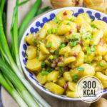 Kalorienarmer Kartoffelsalat mit Brühe und Speck (auf die schwäbische Art)