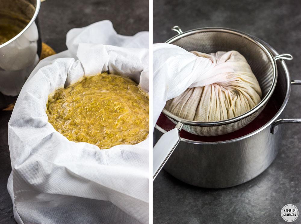 Einfaches Rezept für Rhabarber-Sirup kochen. Der weichgekochte Rhabarber wird über ein Passiertuch ausgedrückt, damit keine Pflanzenreste und Schwebstoffe im Sirup zurück bleiben. Mit Booklet und Flaschen-Etiketten zum Ausdrucken. Rhabarber-Sirup kann als Schorle, zum Sekt und auf Eis und Desserts serviert werden. Mit Zucker und ohne künstliche Süßstoffe nur 50 Kalorien pro Portion. Einfach und lecker. Gesundes und kalorienarmes Kochen. Schnelle und einfache Rezepte zum Abnehmen. - kaloriengeniessen.de #rhabarber #rhabarbersirup #rhubarbsyrup #homemade #erfrischend #kalorienarm #gesund #kalorienarmerezepte #kaloriengeniessen #rezeptezumabnehmen