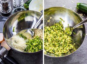 Kalorienarme Zucchini-Puffer zum Abnehmen mit Haferflocken. Knusprig und herzhaft, super Mittagessen, Abendessen oder Snack während einer Diät. Kalorienarmes Kochen. Schnelle Rezepte zum Abnehmen. - kaloriengeniessen.de #zucchini #puffer #fritters #herzhaft #schnellundeinfach #kaloriengeniessen #rezeptezumabnehmen