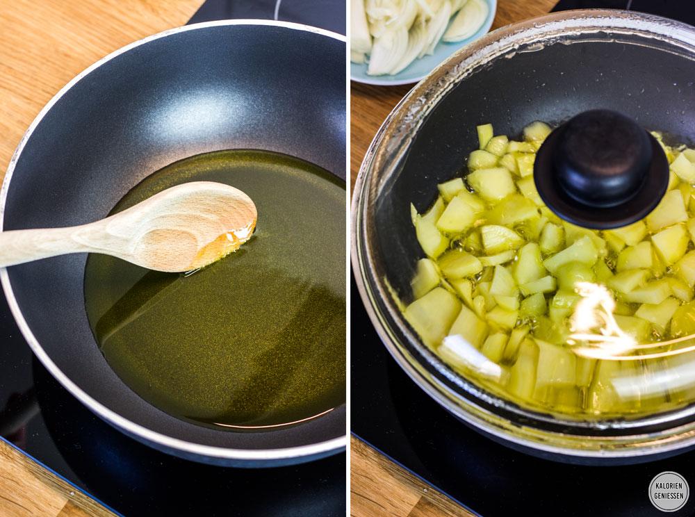 Kalorienarmes Omelette mit Kartoffeln: Spanische Tortilla das Grundrezept Spanisches Omelette einfach. Das Öl hat die richtige Temperatur, wenn am Holzlöffel kleine Bläschen aufsteigen. Als Beilage passt ein frischer grüner Salat gut dazu. Die Tortilla schmeckt auch am nächsten Tag gut. Das übrige Öl einfach im Kühlschrank für die nächste Tortilla aufbewahren. Gesundes und kalorienarmes Kochen. Schnelle und einfache Rezepte zum Abnehmen. - kaloriengeniessen.de #tortilla #spanisch #omelette #grundrezept #machtsatt #mittagessen #kartoffeln #kalorienarm #gesund #kalorienarmerezepte #kaloriengeniessen #rezeptezumabnehmen