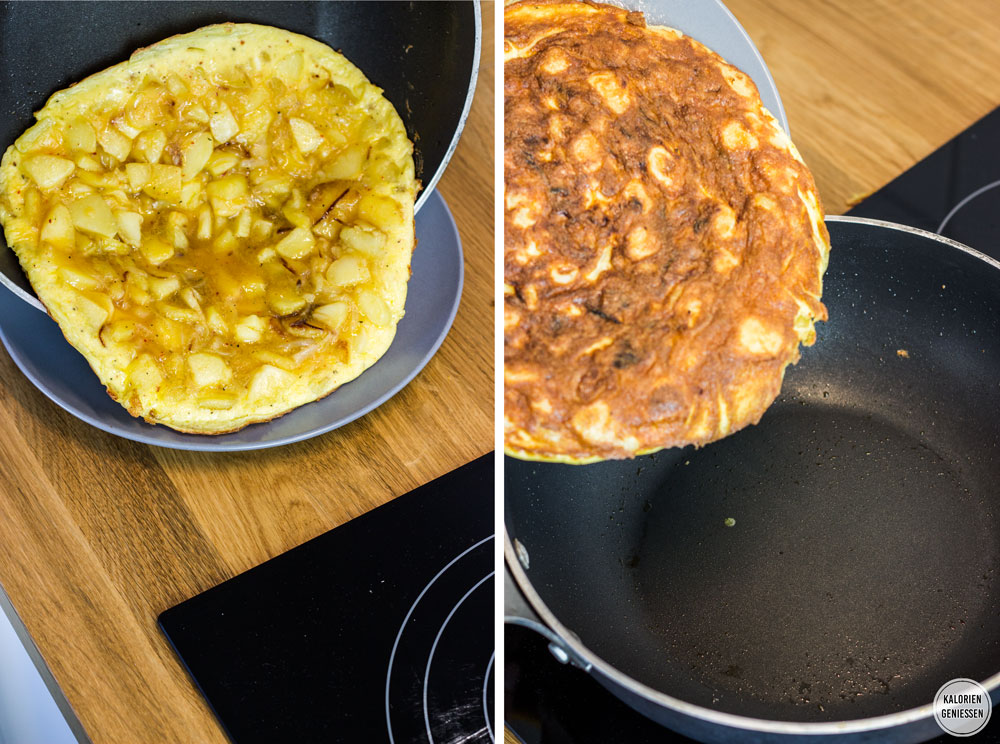 Kalorienarmes Omelette mit Kartoffeln: Spanische Tortilla das Grundrezept Spanisches Omelette einfach. Zum Wenden der Tortilla auf einen Teller gleiten lassen. Als Beilage passt ein frischer grüner Salat gut dazu. Die Tortilla schmeckt auch am nächsten Tag gut. Das übrige Öl einfach im Kühlschrank für die nächste Tortilla aufbewahren. Gesundes und kalorienarmes Kochen. Schnelle und einfache Rezepte zum Abnehmen. - kaloriengeniessen.de #tortilla #spanisch #omelette #grundrezept #machtsatt #mittagessen #kartoffeln #kalorienarm #gesund #kalorienarmerezepte #kaloriengeniessen #rezeptezumabnehmen