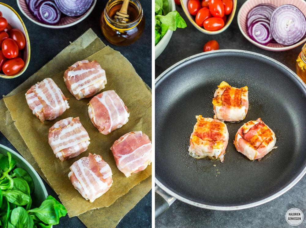 Ziegenrolle im Speckmantel auf Salatbett. Leckerer Salat mit Ziegenkäse und Bacon. Dazu ein aromatisches Balsamico-Dressing. Dieser Salat ist eine komplette und sättigende Mahlzeit für 560 kcal. Einfach und lecker. Gesundes und kalorienarmes Kochen. Schnelle und einfache Rezepte zum Abnehmen. - kaloriengeniessen.de #ziegenkäse #salat #mittagessen #machtsatt #dressing #kalorienarm #gesund #kalorienarmerezepte #kaloriengeniessen #rezeptezumabnehmen