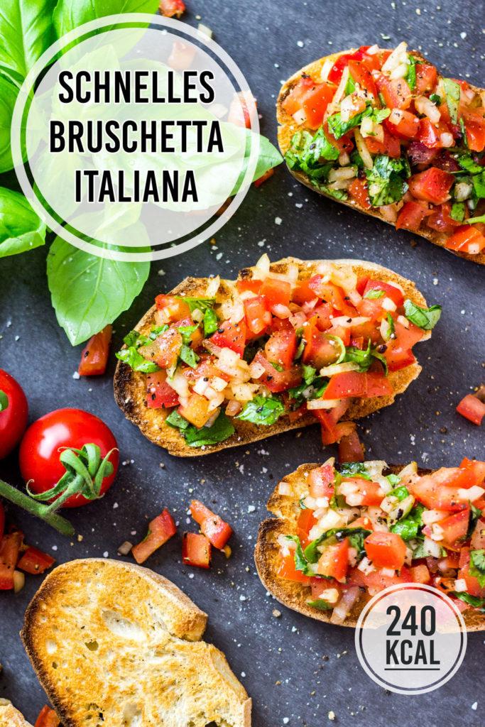 Bruschetta italiana ist DIE Vorspeise und Italien und mit Tomate ein echter Klassiker. Das originale Rezept für Bruschetta ist einfach und schnell selbst gemacht. Als Vorspeise nur 240 Kalorien pro Portion. Bruschetta mit Toastbrot, Ciabatta oder Baguette - immer lecker! Gesundes und kalorienarmes Kochen. Schnelle und einfache Rezepte zum Abnehmen. - kaloriengeniessen.de #bruschetta #italiana #original #schnellundeinfach #kaloriengeniessen #rezeptezumabnehmen #tomate #basilikum #kalorienarm #vegan