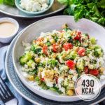 Bulgur-Salat mit Feta, Minze und orientalischem Sesam-Dressing (einfach, viel Eiweiss und meal-prep geeignet)