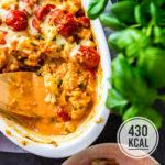 Vegetarischer Blumenkohlauflauf Caprese mit Tomate und Mozzarella - einfach, kalorienarm, wenig Zutaten