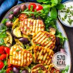 Ofengemüse-Salat mit Halloumi und Minz-Joghurtsauce (vegetarisch und mega lecker!)