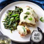 Hähnchen-Saltimbocca mit Mozzarella an saftigem Spinatgemüse