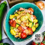 Deftige Gnocchipfanne mit Stremellachs und mediterranem Gemüse