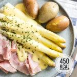 Spargel aus dem Ofen mit Kartoffeln und Schinken (kalorienarm und klassisch)