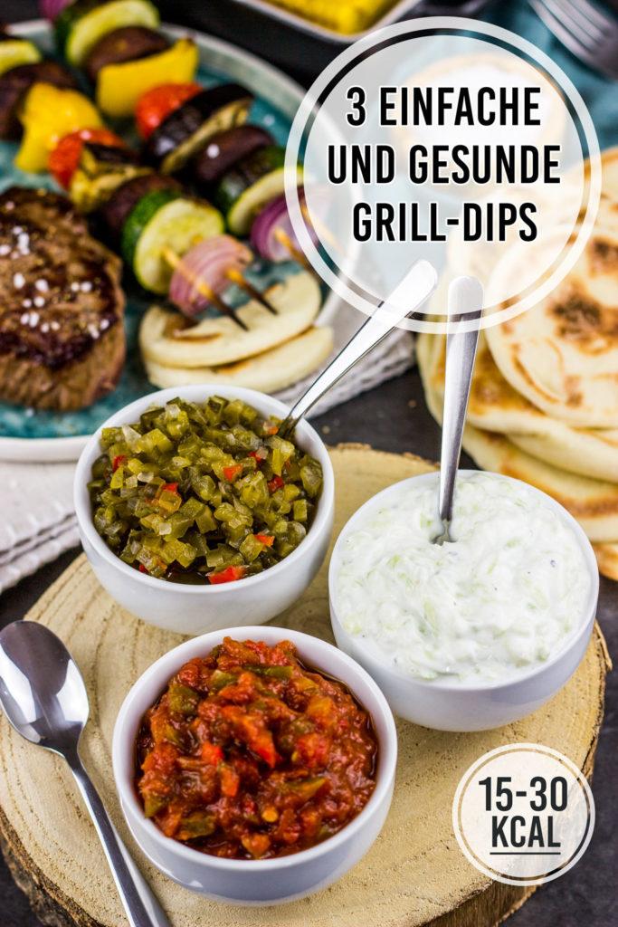 3 gesunde und kalorienarme Burger Saucen und Dips zum Grillen, für Raclette und Fondue. Würzig-süßes Gurkenrelish, scharfe Texicana Tomaten-Chili-Sauce und Tzatziki Tsatsiki Zaziki wie vom Griechen einfach selber machen. Gesundes und kalorienarmes Kochen. Schnelle Rezepte zum Abnehmen. - kaloriengeniessen.de #saucen #dip #grillen #schnellundeinfach #kaloriengeniessen #rezeptezumabnehmen #grillsaucen