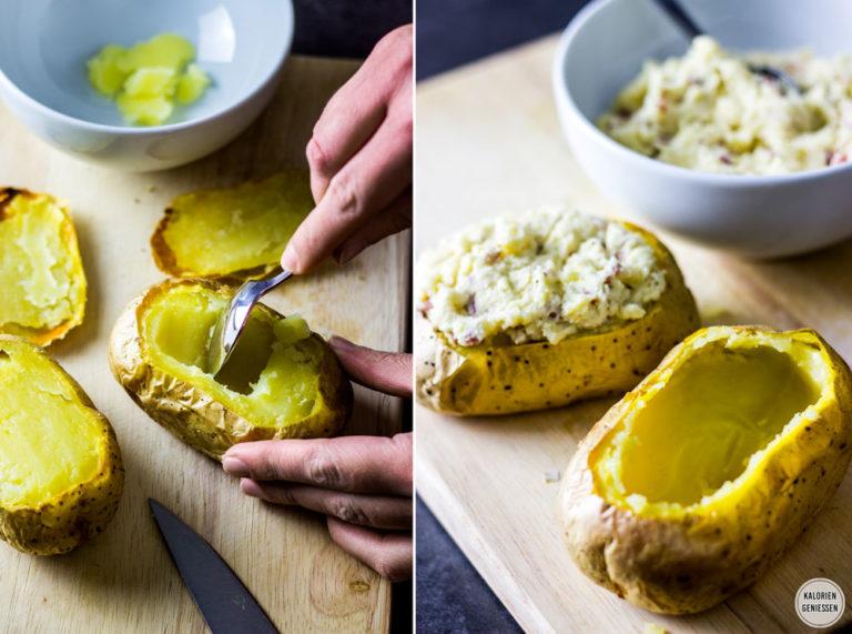Rezept für gefüllte Ofenkartoffel mit kalorienarmer Sour Cream oder Kräuterquark - mit knuspriger Schale und ohne Alufolie. In der gefüllten Ofenkartoffel ist cremiger Frischkäse, Knoblauch, Butter, Käse und krosser Speck - als Hauptspeise für 460 Kalorien oder als Beilage für 230 Kalorien. Gesundes und kalorienarmes Kochen. Einfache Rezepte zum Abnehmen. - kaloriengeniessen.de #ofenkartoffel #gefüllt #rezept #hauptgericht #beilage #gesundkochen #gesund #einfach #kaloriengeniessen #rezeptezumabnehmen
